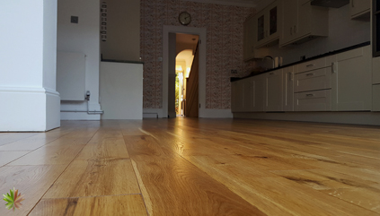 Revitalization of the kitchen oak floor in Kingston upon Thames
