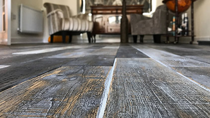 Distressed oak floor installation in London