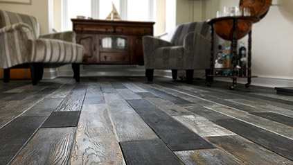 Distressed oak floor installation in Surrey