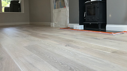 Engineered oak floor sanding in Hampton