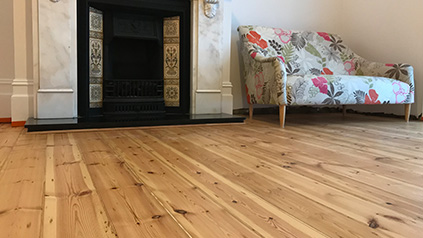 Victorian pine floor boards sanding in Kingston upon Thames